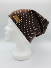 BROWN & WHITE DOTS Beanie, Winter Mütze, Übergangs Mütze