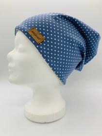 BLUE & WHITE DOTS Beanie, Winter Mütze, Übergangs Mütze