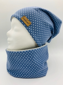 BLUE & WHITE DOTS Beanie mit passendem Loop, Winter Set, Übergangs Set