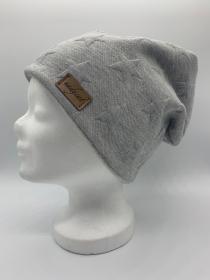 2D STERNE GRAU Beanie, Winter Mütze, Übergangs Mütze, Frühlings Mütze