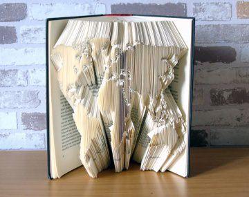 gefaltetes Buch - Weltkarte // Buchkunst // Bookfolding // Geschenk // Buchliebhaber // Dekoration // Reiselustige