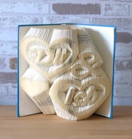gefaltetes Buch - Du & Ich // Bookfolding // Buchkunst // Geschenk // Dekoration // Buchfalten // Freundschaft // Valentinstag