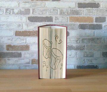 gefaltetes Buch - Bongo Drums // Buchkunst // Bookfolding // Geschenk // Musik // Musikliebhaber // Dekoration - Handarbeit kaufen