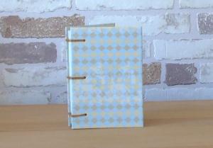 hellblaues Notizbuch A7 mit Rauten // Blankobuch // Mitbringsel // Geburtstag // Adressen  - Handarbeit kaufen
