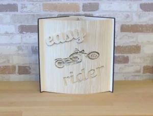 gefaltetes Buch - easy rider // Buchkunst // Bookfolding // Dekoration // Motorrad // Geburtstag // Geschenk - Handarbeit kaufen