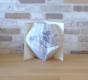 gefaltetes Buch - Herz mit Schmetterling in einem handgebundenen Notizbuch A6 // koptische Bindung // Buchkunst // Bookfolding // Book Art