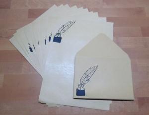 Briefpapier Set Feder & Tusche // Brief // Letter // Schreiben // Geschenk