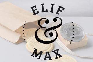 Personalisierter Keksstempel ELIF ♥ 60mm Durchmesser ♥ gravierte Acrylplatte auf Holzgriff montiert