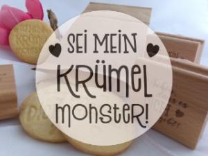Keksstempel KRÜMELMONSTER zum Valentinstag; Acryl auf Holz montiert; 60mm Durchmesser