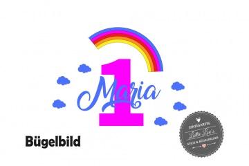 Bügelbild Geburtstag Birthday Regenboge Rainbow Zahl Name  in Glitzer, Flock, Effekt