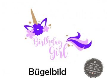 Bügelbild Geburtstag Birthday Girl Einhorn Unicorn in  Glitzer, Flock, Effekt