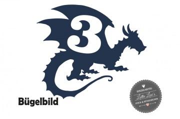 Bügelbild Geburtstag Birthday Drache Dragon in Glitzer, Flock, Effekt