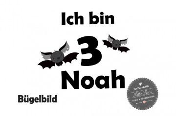 Bügelbild Geburtstag Birthday Bat  Fledermaus  Name und Zahl in Glitzer, Flock oder Effekt