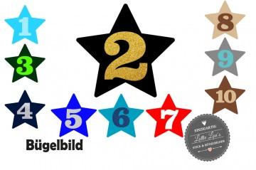 Glitzer, Flock oder Effekt Bügelbild Geburtstag Birthday Stern  mit Wunschzahl oder Name