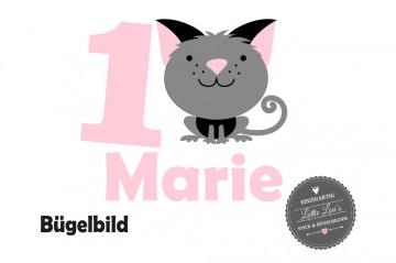Glitzer, Flock oder Effekt  Bügelbild Geburtstag Birthday Katze Cat  mit Wunschzahl oder Name Individuell