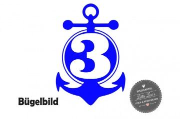 Individuelles Bügelbild zum Geburtstag Birthday Anker Maritim  mit Wunsch Zahl und Name in Flex XXL