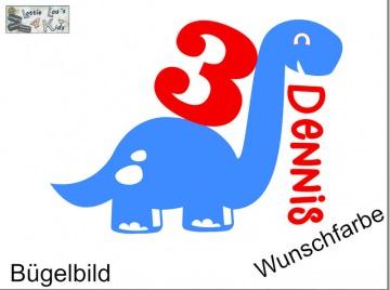 Glitzer, Fleck, Flock Effekt Bügelbild Geburtstag Birthday Dino Dinosaurier mit Wunschzahl oder Name in Glitzer, Flock oder Effekt