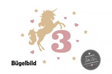 Individuelles Bügelbild Einhorn Unicorn mit Zahl und Name Aufbügler   in Flex XXL