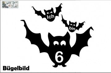 Individuelles Bügelbild Fledermaus Ich bin  mit Zahl Aufbügler in Flex XXL