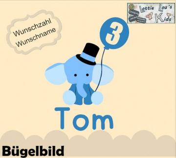 Individuelles Bügelbild Elefant mit Luftballon  mit Zahl  und Name Aufbügler in Flex XXL