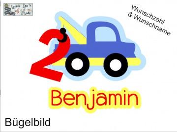Individuelles Bügelbild Auto LKW Abschlepper  mit Zahl  und Name Aufbügler in Flex XXL