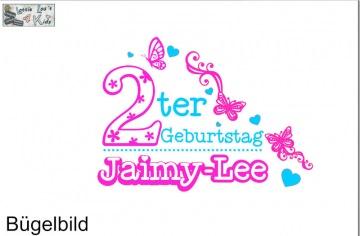 Individuelles Bügelbild Geburtstag Schmetterling Herz mit Zahl  und Name Aufbügler in Flex XXL