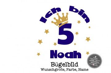 Individuelles Bügelbild Geburtstag Ich bin Zahl mit Name Krone  Aufbügler in Flex XXL