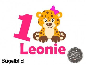 Individuelles Bügelbild Geburtstag Leo Leopard  Wunsch Zahl und Name   Aufbügler in Flex XXL