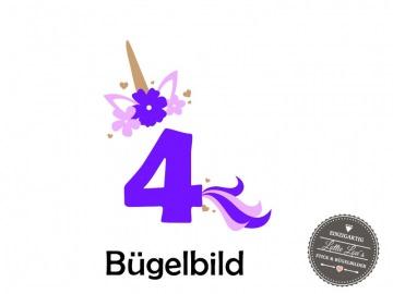 Individuelles Bügelbild Geburtstag Einhorn Unicorn  Wunsch Zahl und Name   Aufbügler in Flex XXL