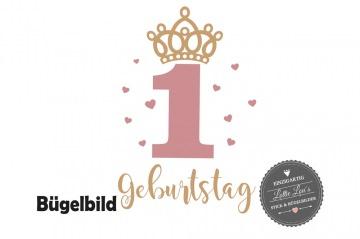 Individuelles Bügelbild Geburtstag Birthday Krone Herzchen Name  Aufbügler in Flex XXL