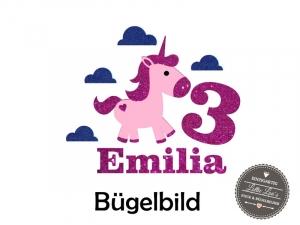 Bügelbild Geburtstag Birthday Einhorn Unicorn Pferd  personalisiert mit Zahl  & Name