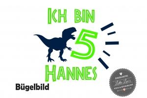 Bügelbild Dinosaurier Dino T-Rex zum Geburtstag Birthday mit Zahl und Name