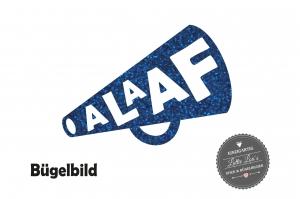 Alaaf Megaphone Bügelbild Karneval in Flex Flock Glitzer Effekt