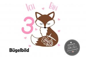 ★ Bügelbild Fuchs mit Name und Zahl zum Geburtstag  ★