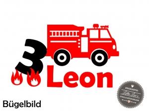 ★ Bügelbild Feuerwehr mit Name und Zahl  zum Geburtstag  Aufbügler ★