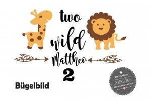 ★ Bügelbild Safari Löwe Giraffe  mit  Name und Zahl  zum Geburtstag  Aufbügler ★