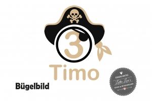 ★ Bügelbild Pirat Hut  mit  Name und Zahl  zum Geburtstag  Aufbügler ★