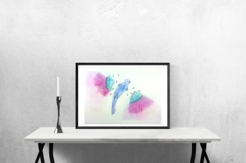 ORIGINAL Aquarell-Zeichnung befreiter Vogel auf Aquarellpapier