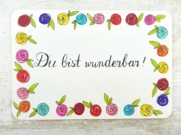 Handgemalte Postkarte DU BIST WUNDERBAR