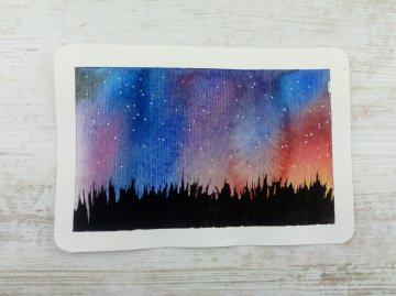 Handgemalte Aquarell-Postkarte SOMMERNACHT handgemalt