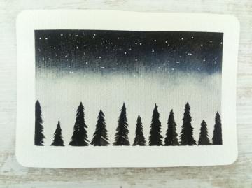 Handgemalte Aquarell-Postkarte WINTERWALD handgemalt