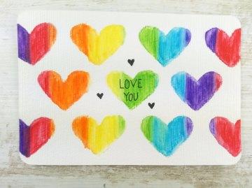 ORIGINAL Aquarell-Postkarte LOVE YOU
