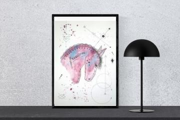 ORIGINAL Aquarell-Fineliner Zeichnung WILDES PFERD handgemalt