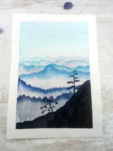 ORIGINAL Aquarell-Zeichnung GEBIRGE auf Aquarellpapier handgemalt