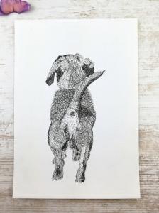 """ORIGINAL Fineliner-Zeichnung """"Auf und davon"""" , Hund, Kunst, handgemalt"""