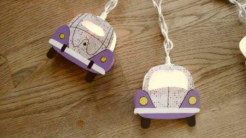 Lichterkette Käfer lila,gebastelt aus verschiedenen Papieren, für den Innenbereich  - Handarbeit kaufen
