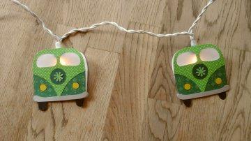 Lichterkette Bus grün, gebastelt aus verschiedenen Papieren, für den Innenbereich  - Handarbeit kaufen