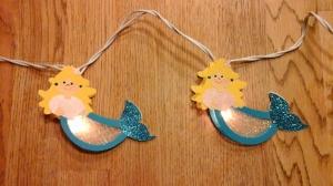 Lichterkette Meerjungfrauen,  gebastelt aus verschiedenen Bastelpapieren, für den Innenbereich  - Handarbeit kaufen