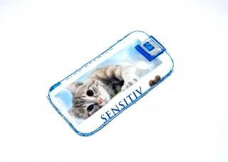 upcycling Handysleeve LH Mit Katze und Leuchtaugen