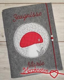 Zeugnismappe A4 gestickt auf grauem Filz, Glückspilz doodle, perfekt zur Einschulung, personalisierbar, Junge und Mädchen